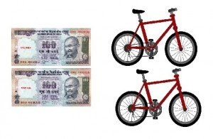 Example - 2 Rs. 100 notes and 2 cycles